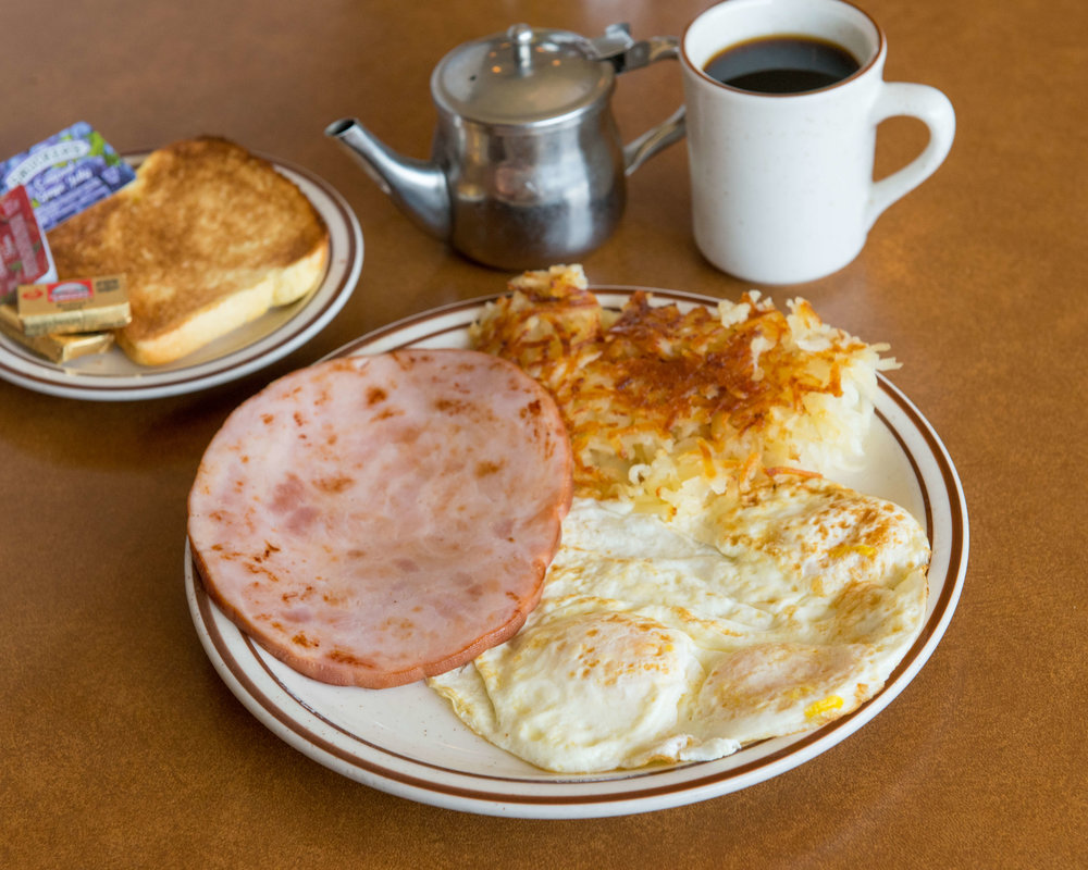 HAM STEAK & EGGS $10.95