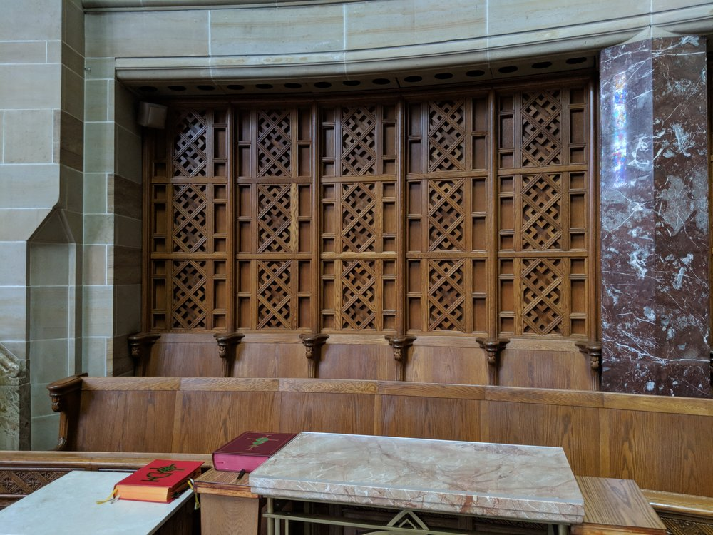 CAMM DT-1 monitor speakers have been color-matched and utilized to provide sound coverage in the sanctuary.