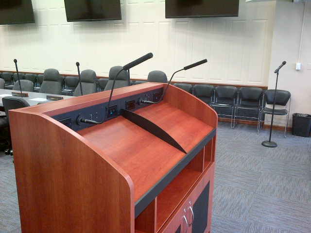 Audio-Technica microphones mounted in the podium