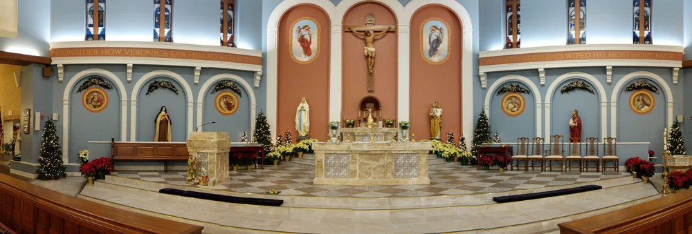 The sanctuary at St. Veronica uses CAMM speakers and an Audio-Technica Engineered series microphone.