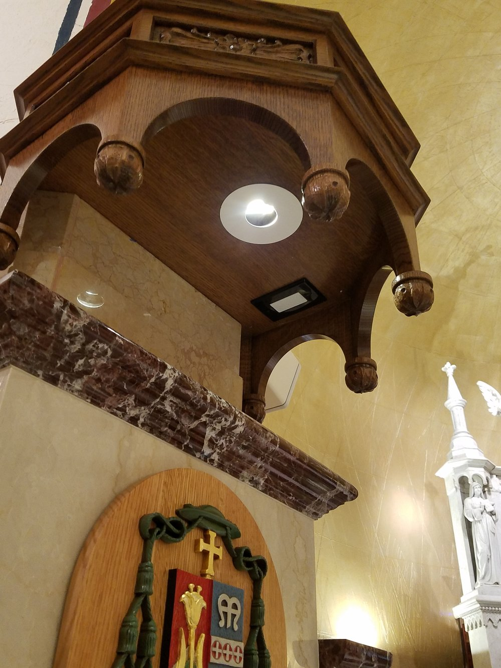 A custom speaker is mounted in the Cathedra for the bishop