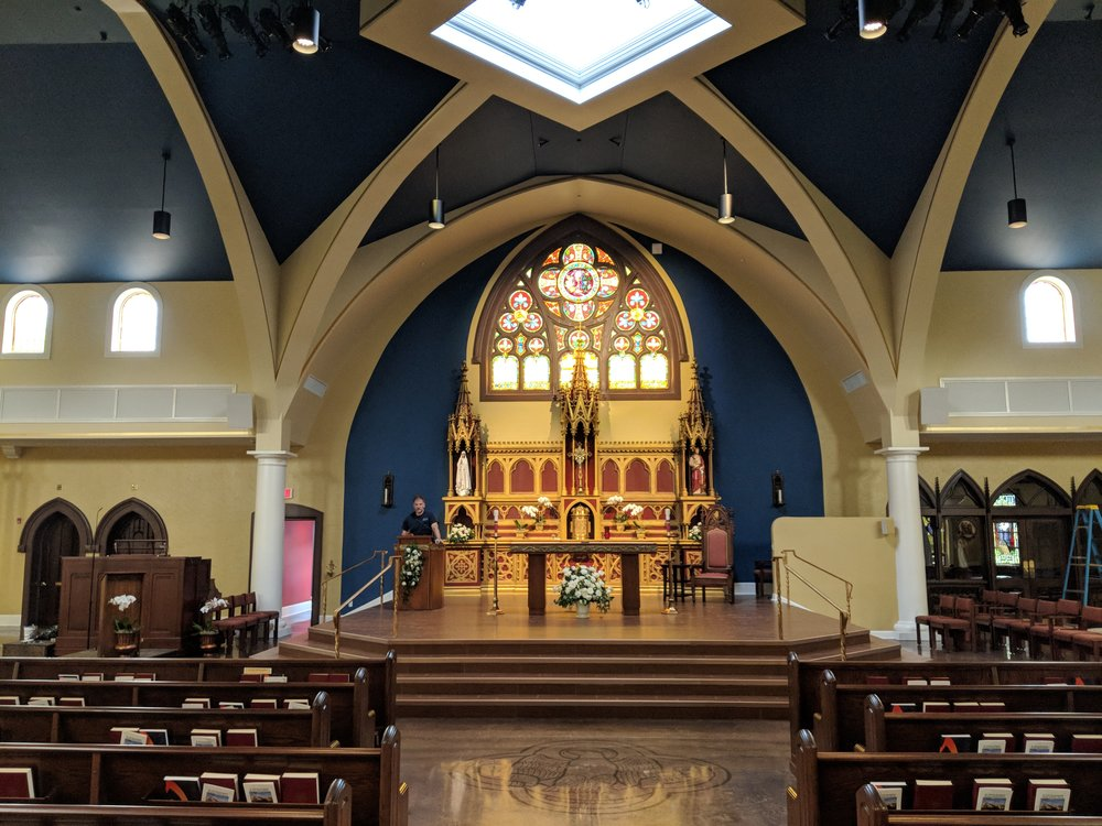 CAMM DT-800 speakers are mounted on each side of the sanctuary to provide audio coverage in the front of the church.