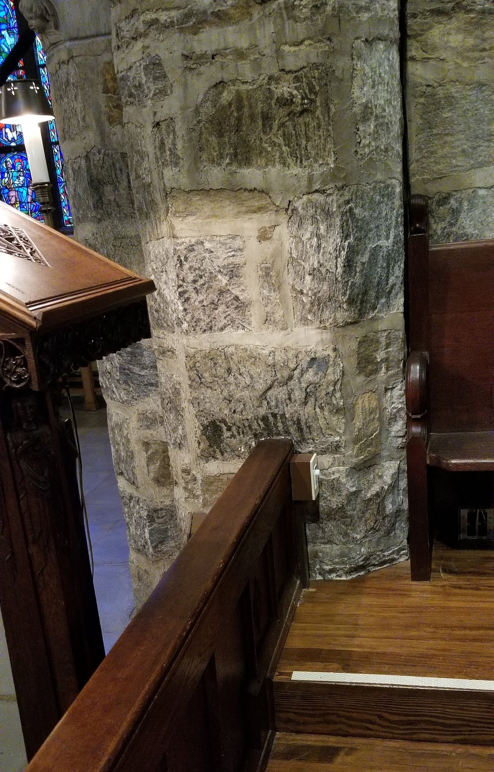 A Bluetooth receiver provides wireless audio connectivity from within the chancel.