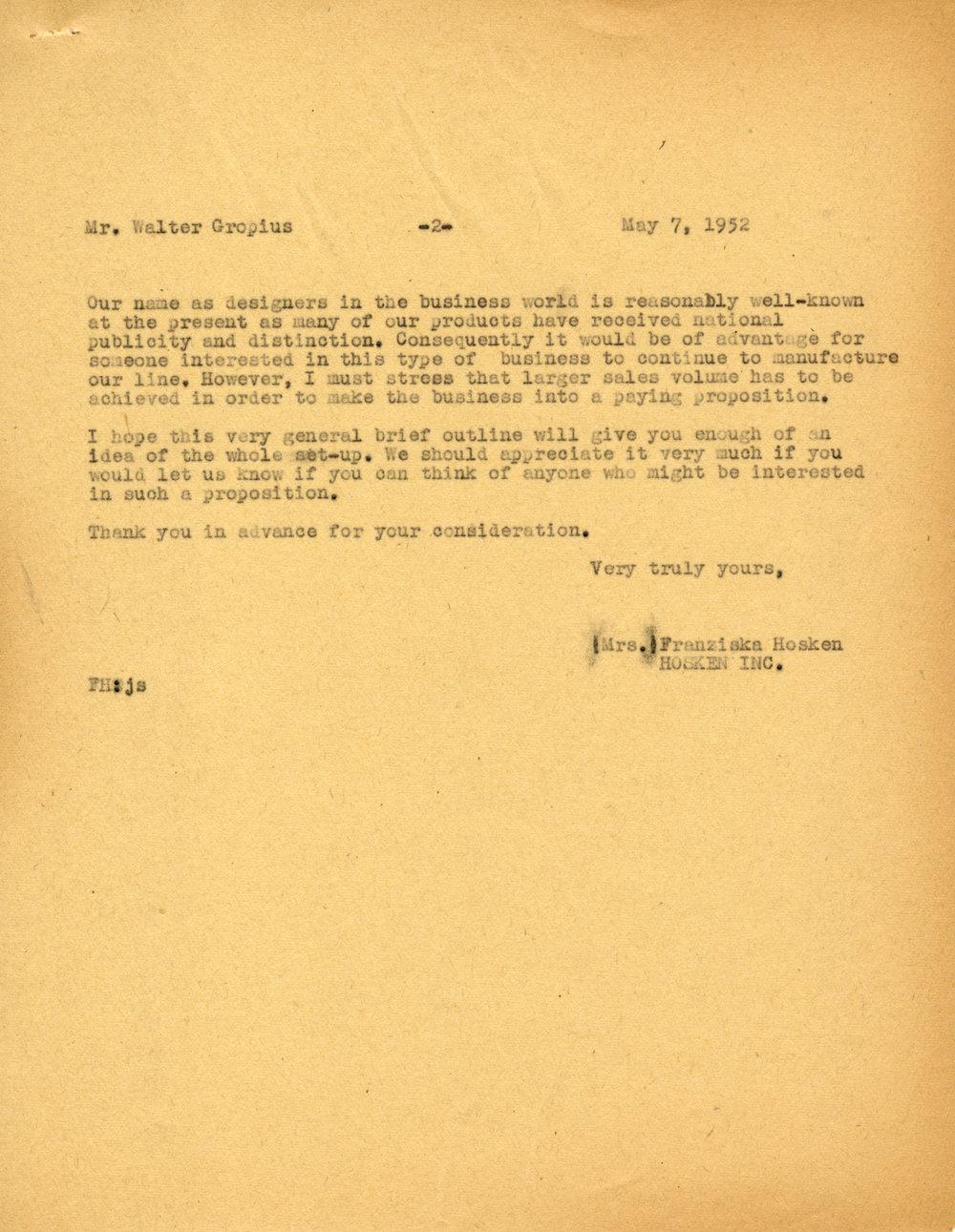 Correspondence between Fran Hosken and Walter Gropius, May 7, 1952. Frances Loeb Library Special Collections, Harvard Graduate School of Design.