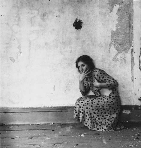Francesca Woodman, Polka Dots, Providence, Rhode Island, 1976. Gelatin silverprint, 13.3 x 13.3 cm. © George and Betty Woodman, courtesy George and Betty Woodman