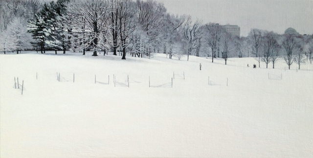 Park, Oil on canvas mounted on panel, 12 x 25 inches, 2013