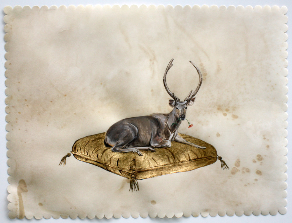 """my dear, gouache, oak gall ink and gold leaf on deer parchment, 18""""x24"""""""