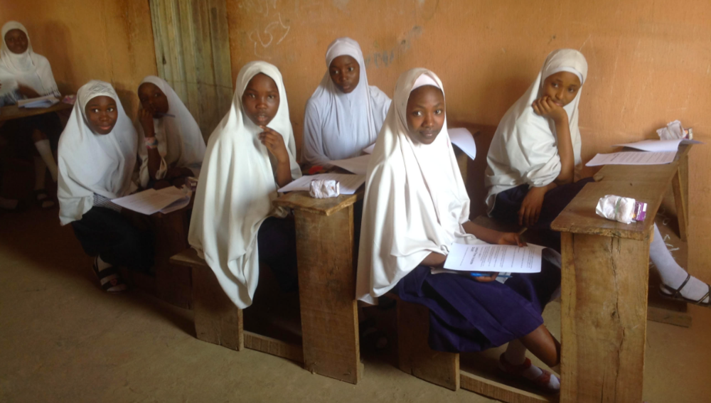 School girls in Maiduguri, Nigeria, with the iDOUBT Critical Thinking workbook