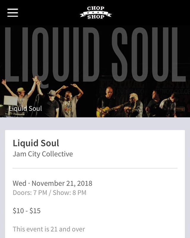 Next Wednesday!!!! Thanksgiving eve we're opening up for local legends Liquid Soul at the Chop Shop. If you're in town experience a stripped down version of the Jam City experience with these four fellas.