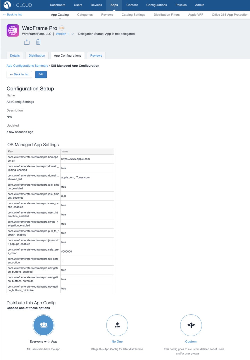 App Configuration Policy in MobileIron
