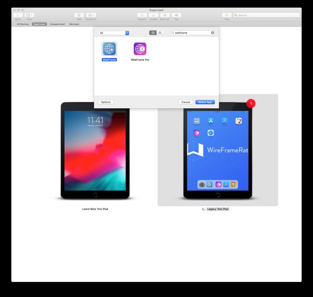 Single App Mode App Selection
