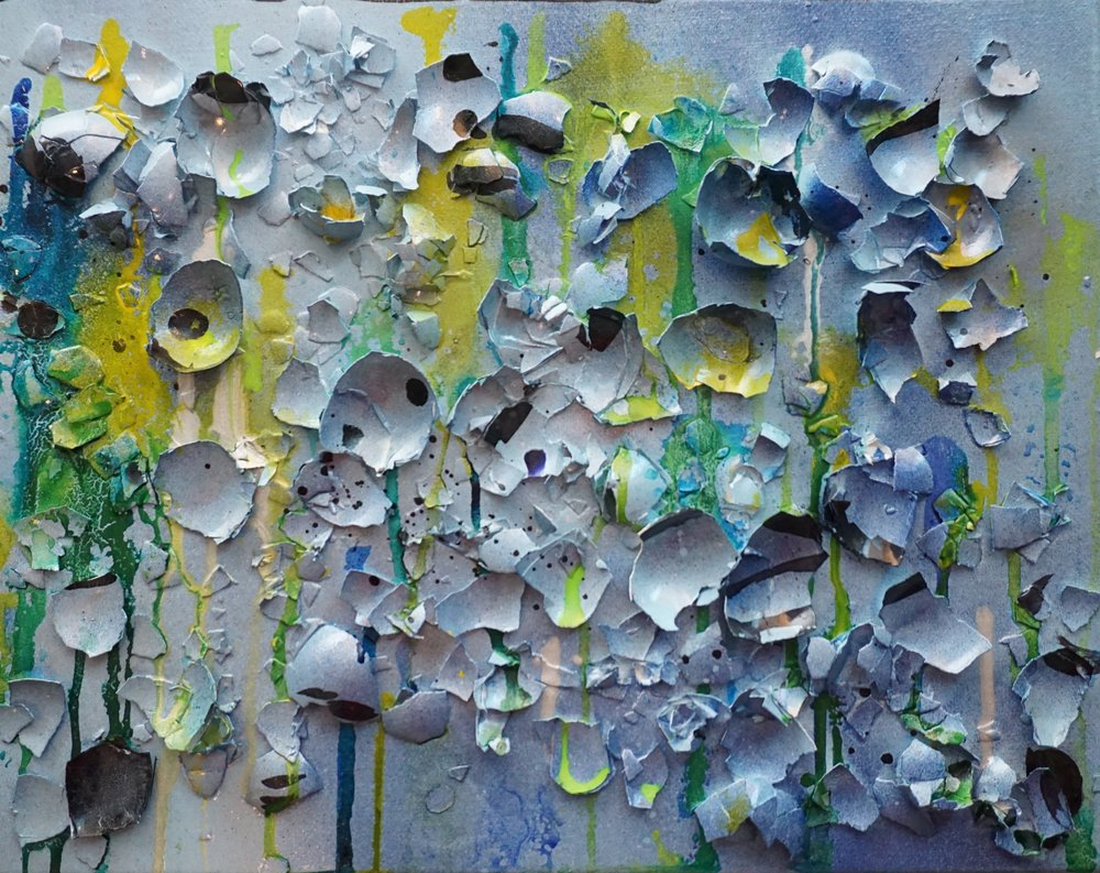 Mixed media (eggshells) on panel: 11x14 SOLD