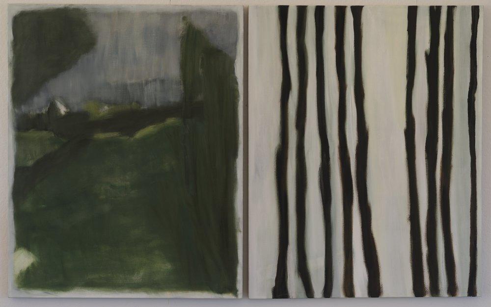Vertical Green  2015  diptych  50 x 80in  oil on linen  photo: Sasha Schell