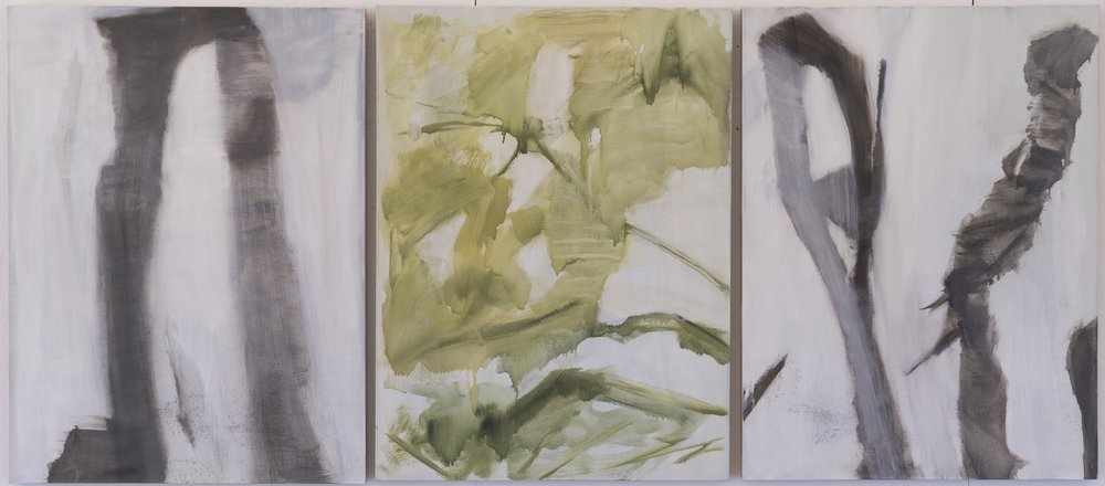 Untitled 2015 triptych 40 x 90in oil on linen photo: Sasha Schell