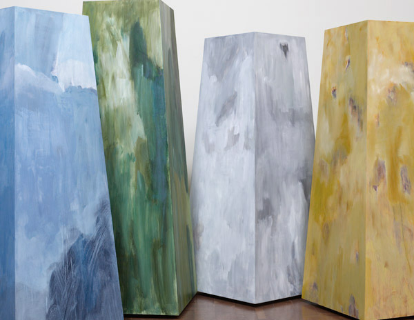 Letters from Iceland: Nordur, Sudur, Austur, Vestur oil on wood 4 obelisks @ 64-72in tall IS-18-21 photo: M. Lee Fatherree