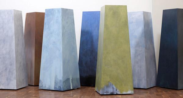 Archipelago oil on wood 7 obelisks @ 72in tall AP-12-18 photo: M. Lee Fatherree