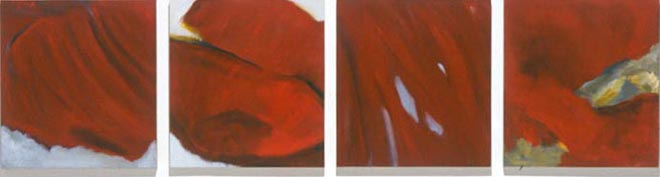 Four Red Ones oil on linen [quadriptych] 25 x 100in RO-05 photo: M. Lee Fatherree