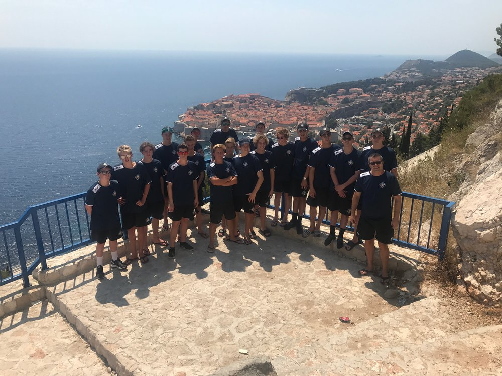 The Waitak squad at Dubrovnik, Croatia, before their game in Cavat.