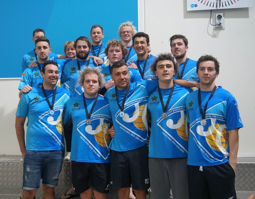 The Waitakere Blue Devils with their silver medals at 2018's National League finals.
