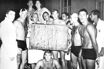 Bob Horn (front row 2nd from left) with the 1959 Men's Water Polo team after defeating UCLA 12-8.
