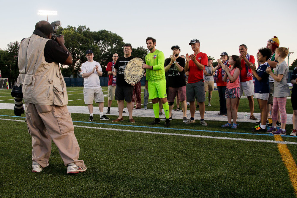 The Ironsides Crew presents Jacob Wagmeister with its Man of the Year award, which recognizes a player who has gone above and beyond for the team. (c) Burt Granofsky