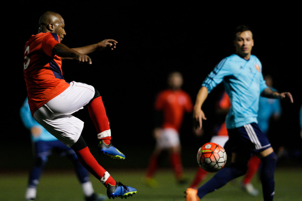Somerville, MA: William Balanta (Boston City #3) fires the ball upfield. Safira FC defeated Boston City FC 4-1 in a 2019 Lamar Hunt U.S. Open Cup game on October 20, 2018. (c) Burt Granofsky
