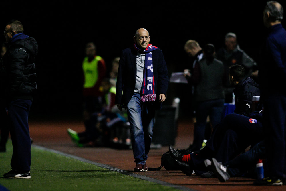 Somerville, MA: Boston City FC managing director Craig Tornberg paces the sidelines. Safira FC defeated Boston City FC 4-1 in a 2019 Lamar Hunt U.S. Open Cup game on October 20, 2018. (c) Burt Granofsky