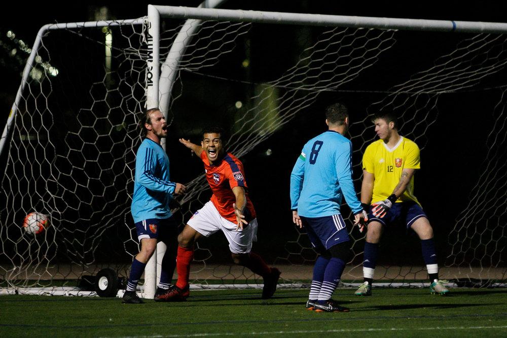 Somerville, MA: Jhonata Batista (Boston City #9) scores to make it 1-1. Safira FC defeated Boston City FC 4-1 in a 2019 Lamar Hunt U.S. Open Cup game on October 20, 2018. (c) Burt Granofsky