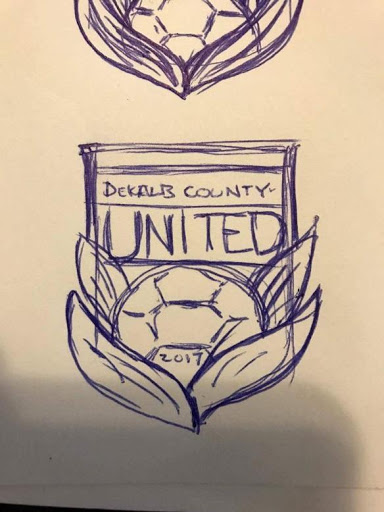 The first sketch of the DeKalb County United badge—who doesn't love seeing works of art in progress!
