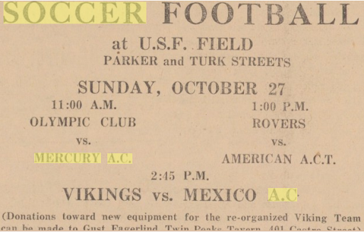 Advert in local paper for Mercury AC's next match against Olympic Club (CSU newspaper Archives)