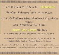 Advert in local paper for an international friendly between Swedish club AIK Solna vs San Francisco's Best XI (CSU Newspaper Archives)