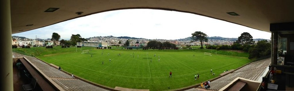 The rolling hills and iconic neighborhoods of San Francisco can be seen from the main stands of Boxer Stadium (Photo: SFSFL Social Media)