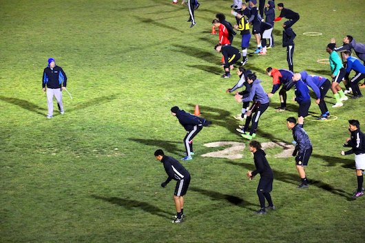 Strength and conditioning coach George Mangum gets the expansion side ready for their first season in the NPSL. Image courtesy of  High Desert Twitter account .