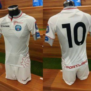 The club's secondary kit, custom designed for both FC Mulhouse clubs, on display before their 2018 Seasons. (Photo: FCMP Social Media)