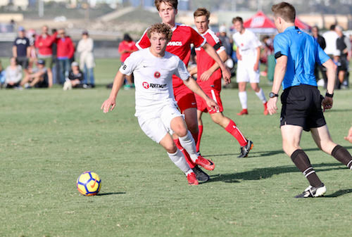 Declan McGlynn, current Seattle University and U.S. Under-19 MNT player, in action for Crossfire during U.S. Soccer Development Academy play.