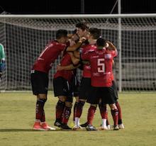 Laredo Heat celebrate during their 2018 playoff match. Image courtesy of  Laredo Heat SC .