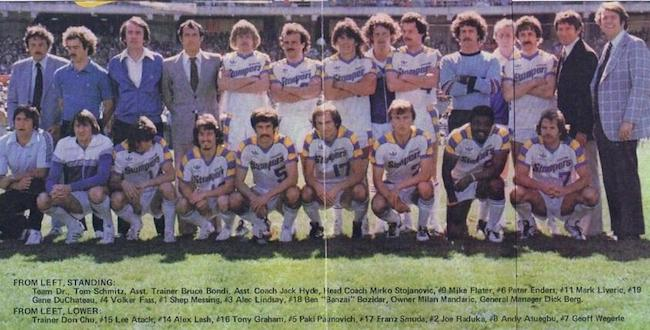 The 1978 NASL Oakland Stompers in their away whites.