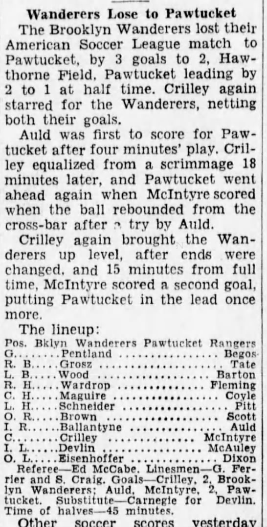 1931 match report. Image from  newspapers.com .