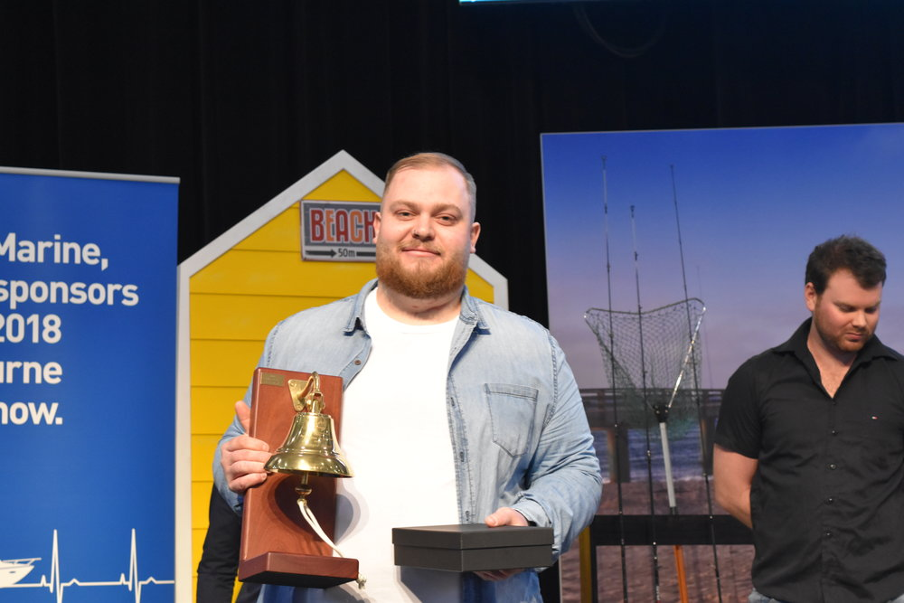 2018 Apprentice of the Year - Marcus Williams from Flatwater Marine (at 2018 RACV Marine Melbourne Boat Show)