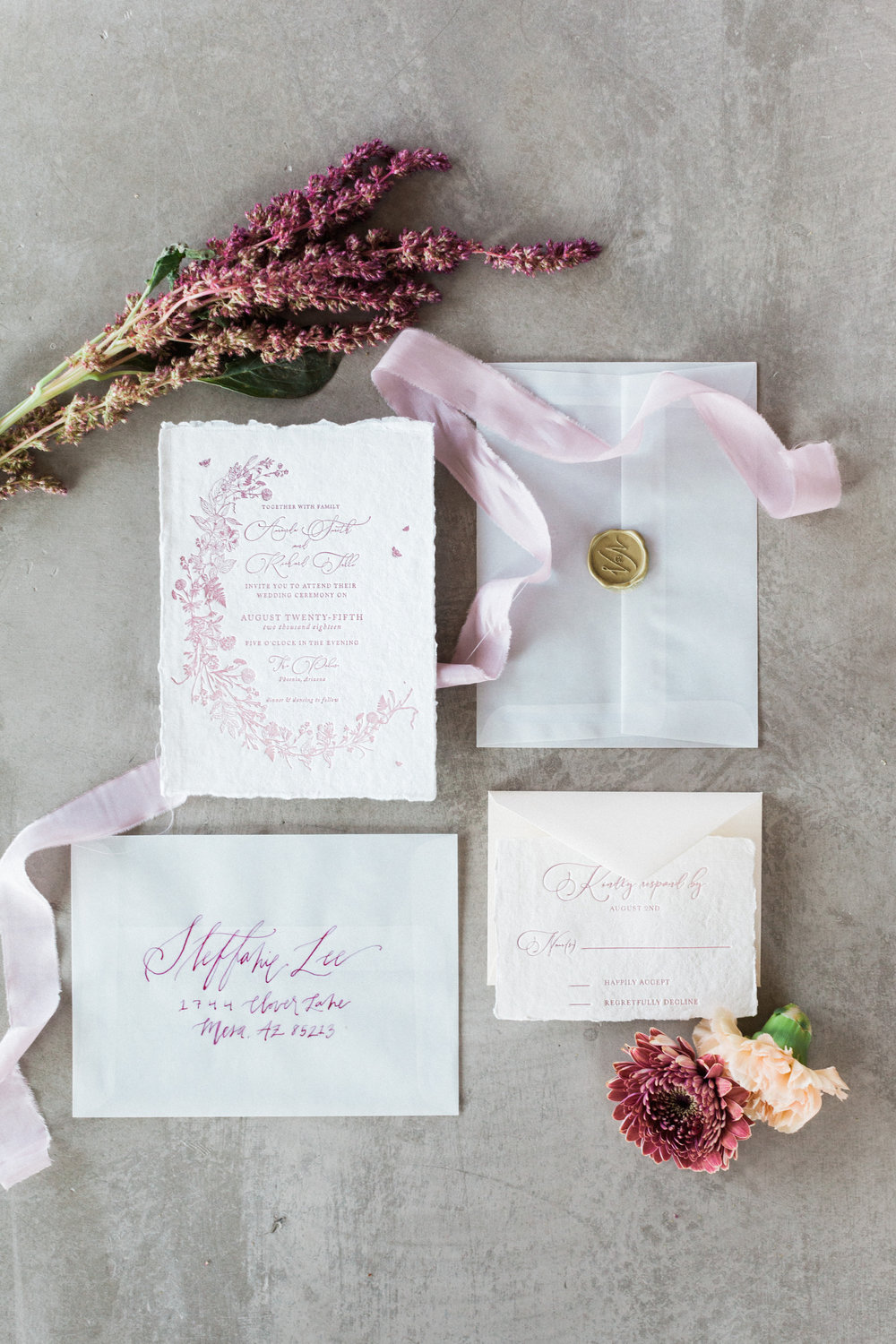 Mauve and Lavender Modern Wedding Inspiration - Invitation