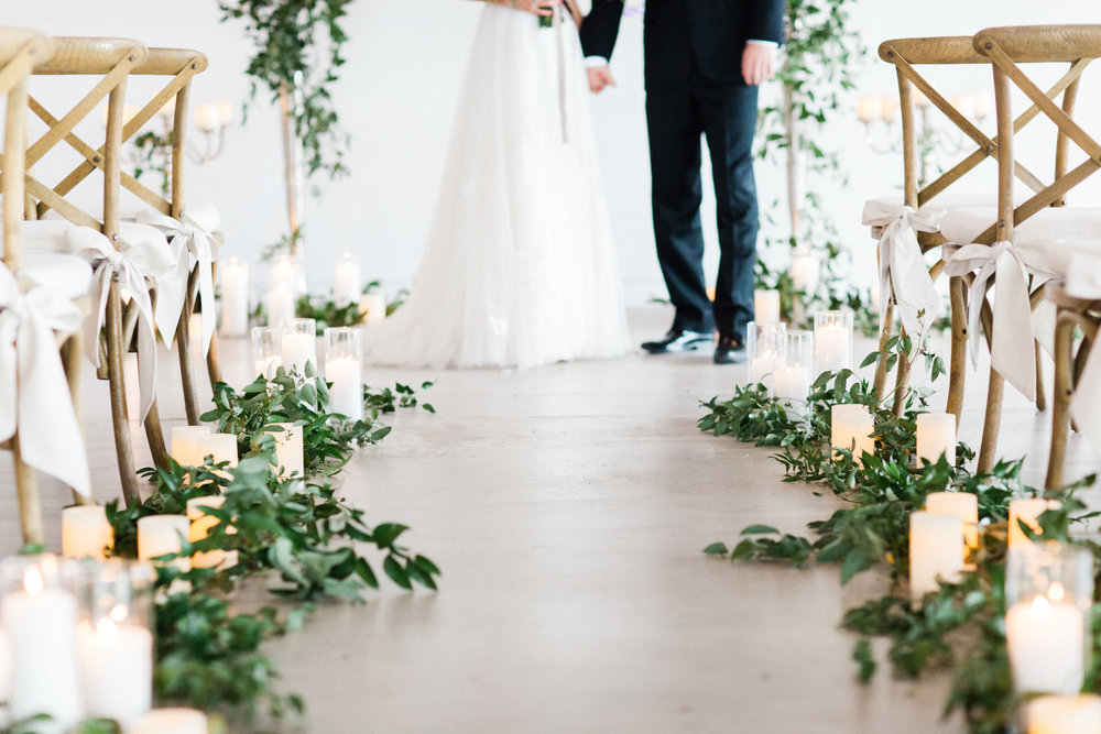 Mauve and Lavender Modern Wedding Inspiration - Candle and Greenery Ceremony