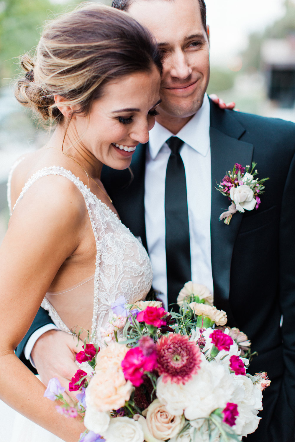 Mauve and Lavender Modern Wedding Inspiration - Bride and Groom