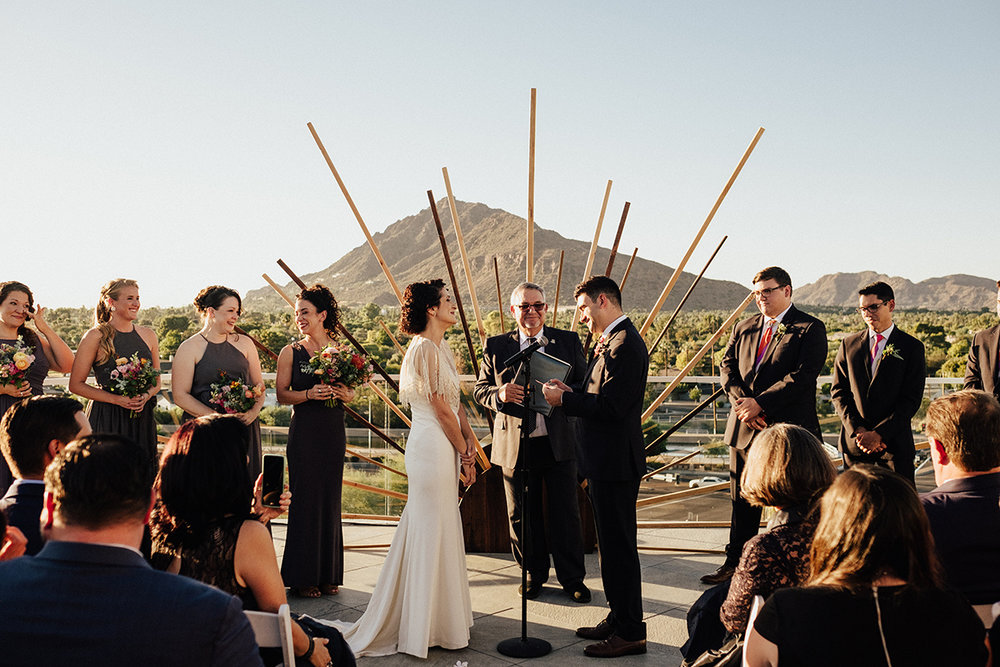 Bright, Mid-Century Modern Tropical Wedding Inspiration - Ceremony Arch