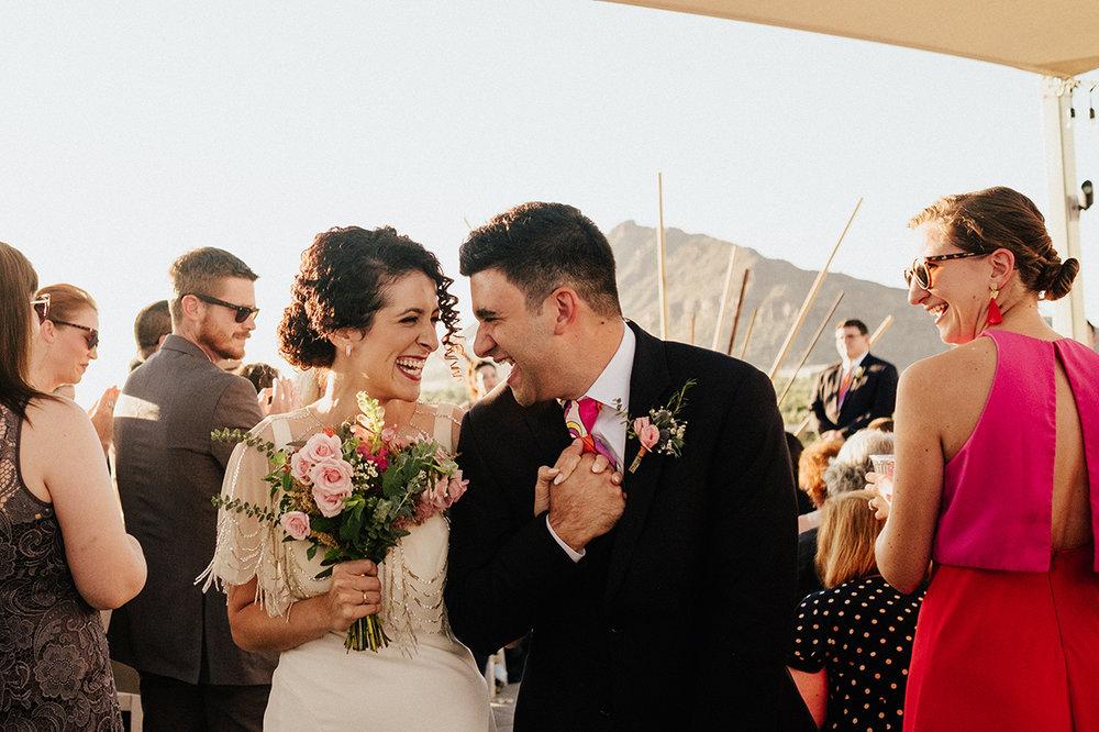 Bright, Mid-Century Modern Tropical Wedding Inspiration - Bride and Groom