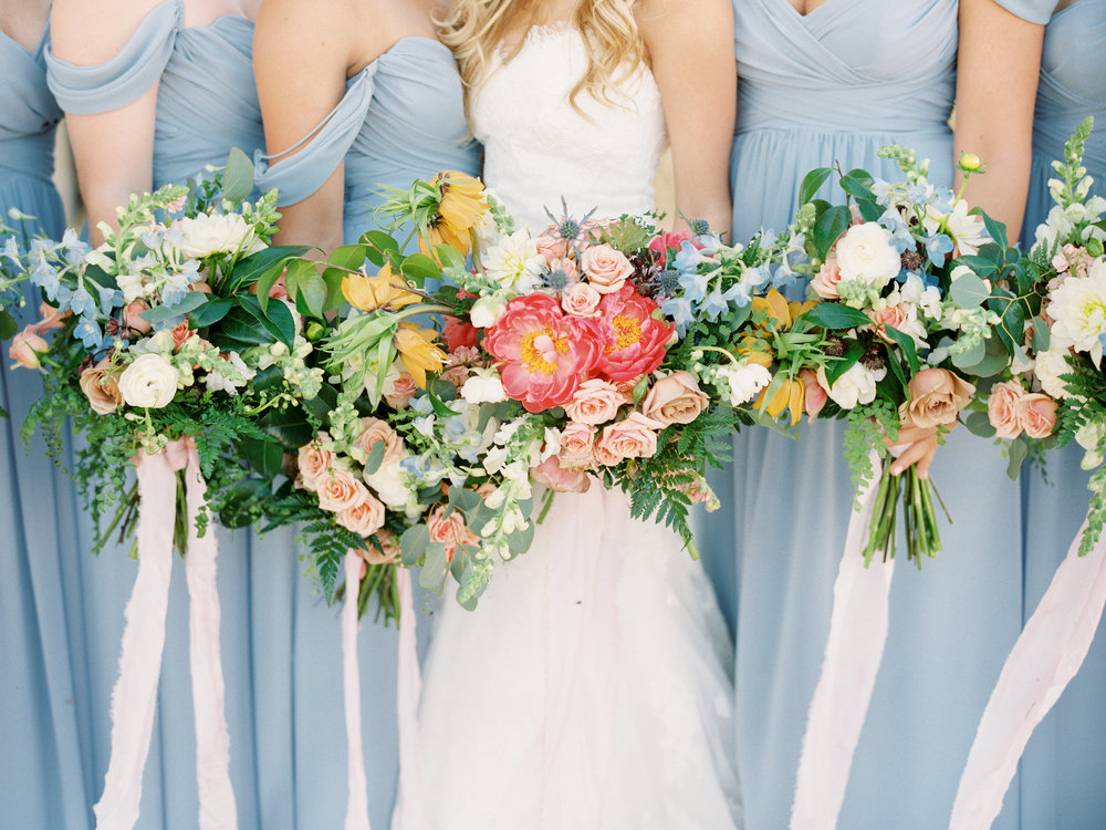 Dairy Farm Wedding - Light Blue Bridesmaid Dresses