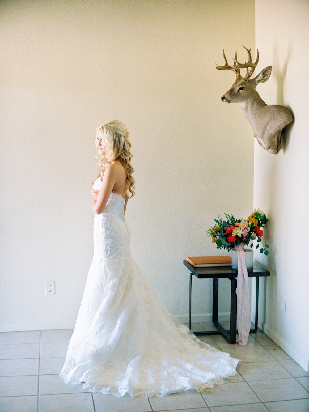 Dairy Farm Wedding - Bride in Beaded Gown