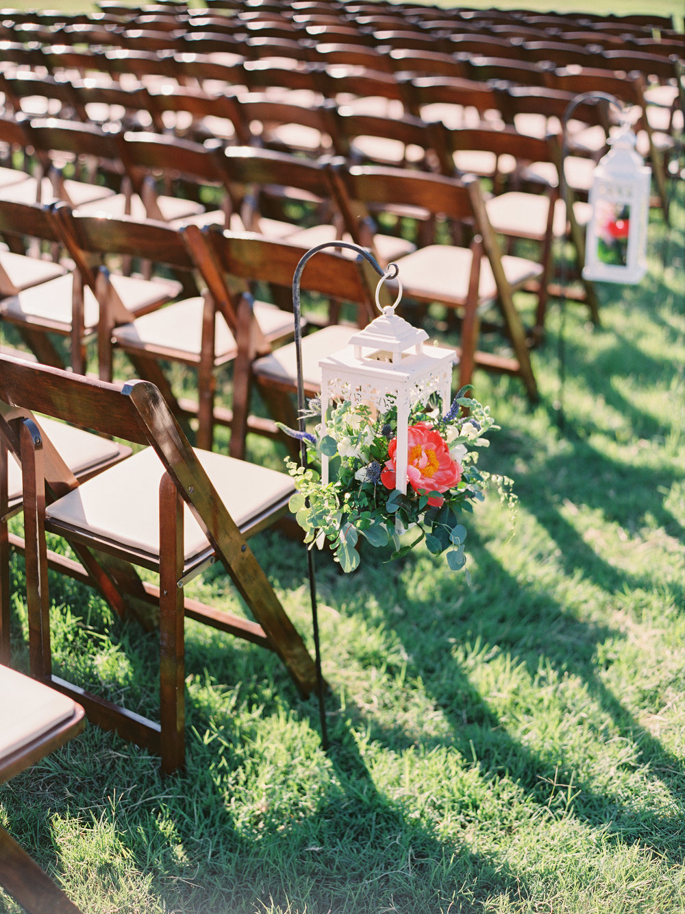 Dairy Farm Wedding - Hanging Lantern Aisle Arrangements