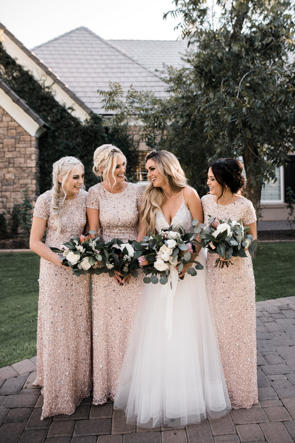 Moody, Romantic Arizona Wedding - Blush Beaded Bridesmaid Dresses