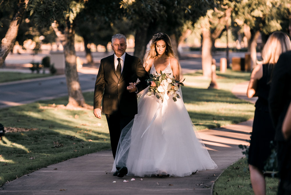 Moody, Romantic Arizona Wedding - Walk down the aisle