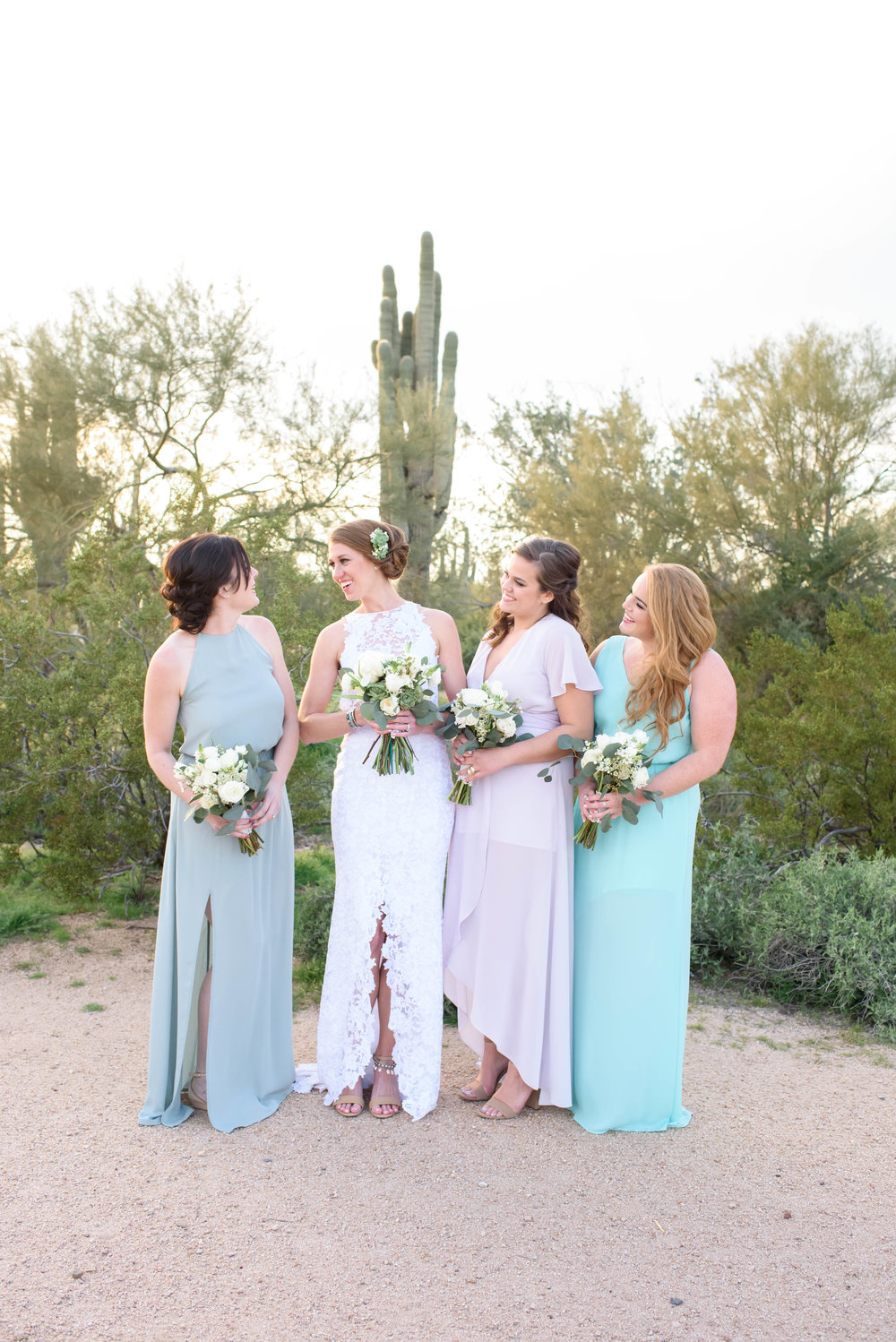 Colorful Desert Wedding - Bride and Bridesmaids